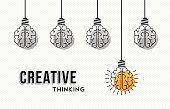 Modern creative thinking concept design, human brains in black and white with colorful one getting an idea. EPS10 vector.