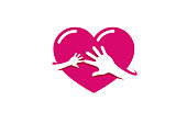 Creative Two Hands Red Heart icon,