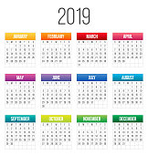Creative vector illustration of 2018 year colorful calendar isolated on transparent background. Art design blank mockup template event planner. Week starts sunday. Abstract concept graphic element.