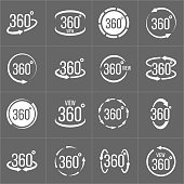 Creative vector illustration of 360 degrees view related sign set isolated on transparent background. Art design. Abstract concept graphic rotation arrows, panorama, virtual reality helmet element.