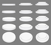Creative vector illustration of 3d round stage podium set isolated on transparent background. Art design pedestal, platform. stage, scene. Abstract concept graphic collection element.