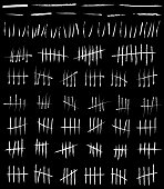 Creative vector illustration of counting waiting tally number marks isolated on background. Crossed out line art design. Abstract concept graphic element.