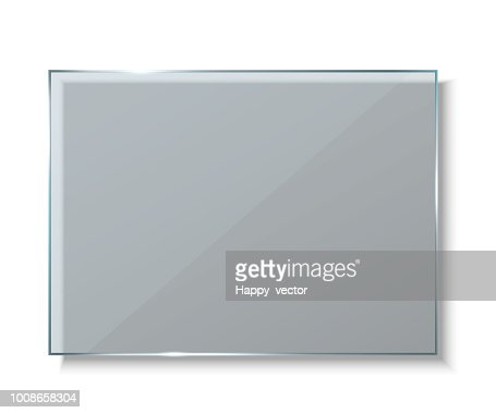Creative vector illustration of glass plates, empty blank banners isolated on transparent background. Art design realistic mock up. Abstract concept graphic element : stock vector