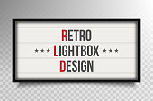 Creative vector illustration of glowing cinema signboard, retro lightbox isolated on transparent background. Art design light vintage billboard banner template. Abstract cinema, theatre element.