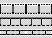 Creative vector illustration of old retro film strip frame set isolated on transparent background. Art design reel cinema filmstrip template. Abstract concept graphic element.