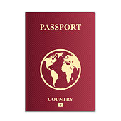 Creative vector illustration of passports with globe map isolated on transparent background. Art design. Front cover international identification document. Abstract concept graphic element.