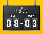 Creative vector illustration of soccer, football mechanical scoreboard isolated on transparent background. Art design retro vintage countdown with time, result display. Concept graphic sport element.