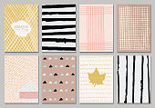 Set of Isolated creative template cards. Hand drawn vintage elements. Vector banners for card, poster, invitation, flyer, party, wedding, brochure. Hipster design collection