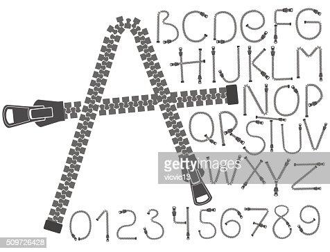 Criativa Fecho De Tipo De Letra Alfabeto Letras Números Conceito