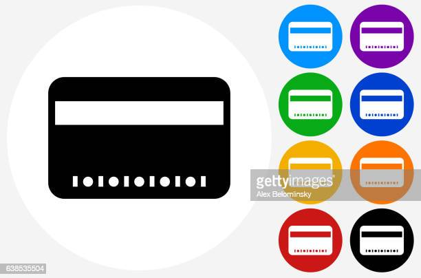 Credit Card Icon on Flat Color Circle Buttons