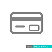 Credit card icon. E-commerce sign. Graph symbol for your web site design, symbol, app, UI. Vector illustration, EPS10.