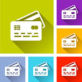 Illustration of credit card icons with shadow