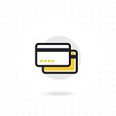 Credit card line icon. Credit card in modern thin line style. Credit card banking symbol for website and mobile apps. Colored flat line vector illustration
