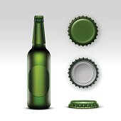 Vector Closed Blank Glass Transparent Creen Bottle of  Light Beer with Green label and  Set of Caps Side Top Back View for Branding Close up Isolated on White Background.