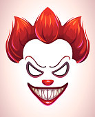 Creepy clown mask. Vector angry Joker face elements for scary photo decoration.