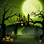 Vector illustration of Creepy graveyard with castle and pumpkins