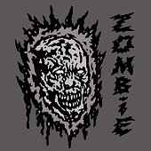 Creepy gray zombie head. Vector illustration. Genre of horror.