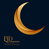 crescent golden 3d moon for eid mubarak