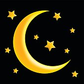 crescent moon and star vector symbol icon design. Beautiful illustration isolated on black background