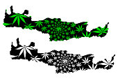 Crete - map is designed cannabis leaf green and black, Crete (Hellenic Republic, Hellas) map made of marijuana (marihuana,THC) foliage,