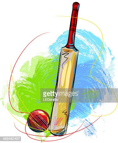 Cricket ball and bat vector art getty images for Arts and crafts cricket