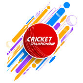 illustration of cricket ball in abstract background