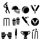 Vector icons set - cricket collection isolated on white