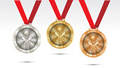 cricket Champion Gold, Silver and Bronze Medal set with Red Ribbon  Vector Illustration