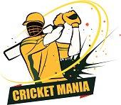 Cricket Batsman hitting the shot wearing Australian dress.