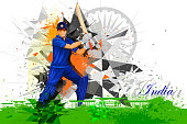 easy to edit vector illustration of cricket player from India