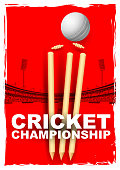 llustration of cricket stumps and bails hit by a ball in stadium