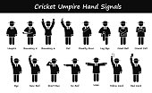 A set of stickman representing the sports of cricket umpire hand signals and gestures.