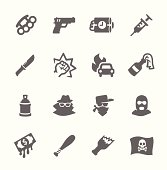 Simple set of crime related vector icons for your design.