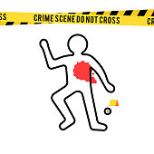 Crime scene, danger tapes and bullet. Dead body silhouette with blood spot. Vector illustration in flat style isolated on white background