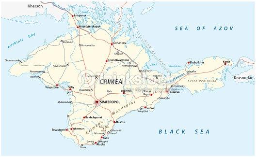 Crimea Road And Major Cities Vector Map Vector Art   Thinkstock