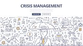 Doodle vector illustration of crisis manager with umbrella. Abstract concept of managing crisis, solving problems, handling emergency and dealing with negative events for web banners, hero images, pri