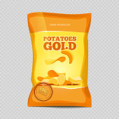 Crisp potato chips snacks isolated on transparent background. Vector illustration