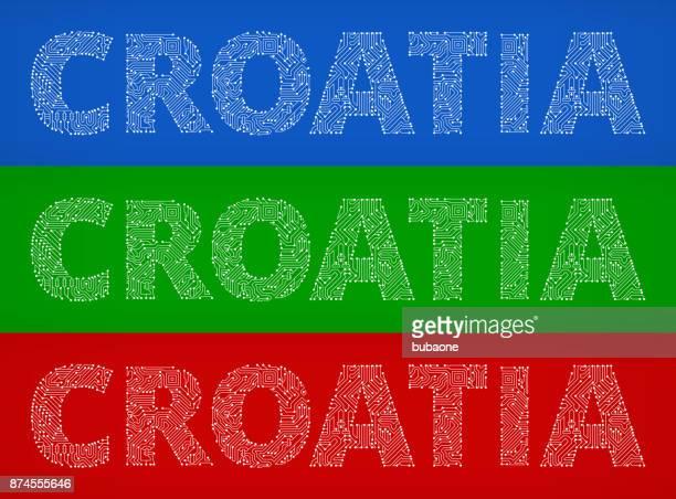 Croatia Circuit Board Color Vector Backgrounds