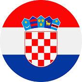 Croatia Flag Vector Round Flat Icon - Illustration