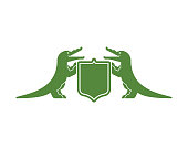 Crocodile and Shield heraldic symbol. Royal Alligator for coat of arms. Vector illustration
