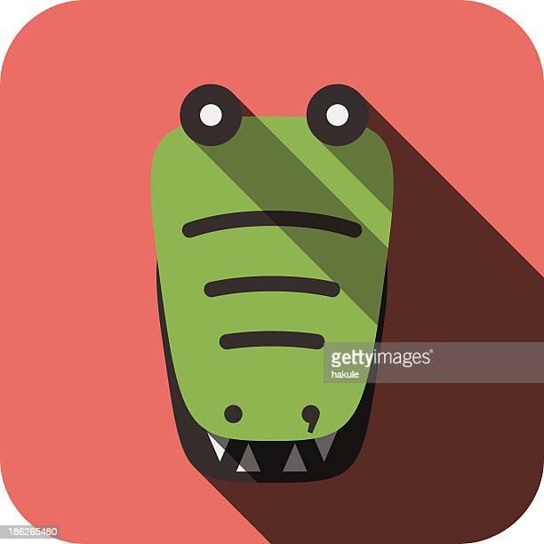 crocodile face flat icon design. Animal icons series.