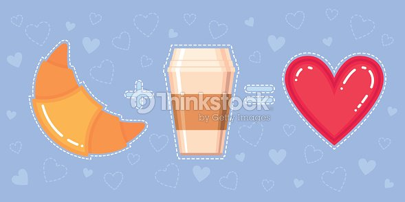 Croissant, coffee cup and red heart