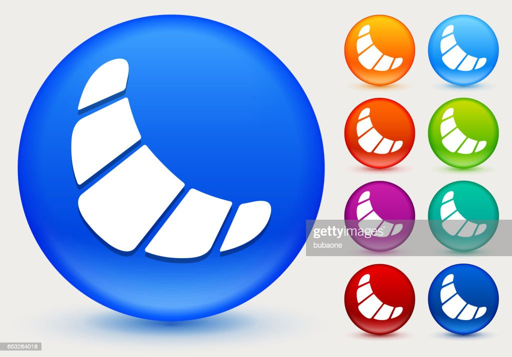 Croissant Icon on Shiny Color Circle Buttons : Vector Art