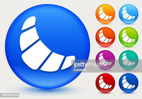 Croissant Icon on Shiny Color Circle Buttons : Vectorkunst