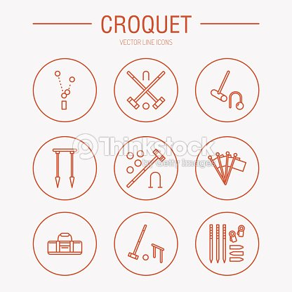 Croquet Sport Game Vector Line Icons Ball Mallets Hoops Pegs Vector