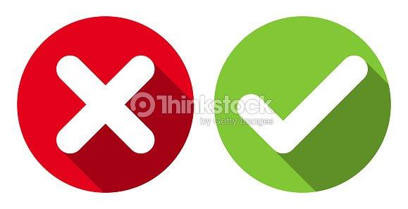 b8f6e37d3e1 Cross Check Mark Icons Flat Round Buttons Set stock vector - Thinkstock