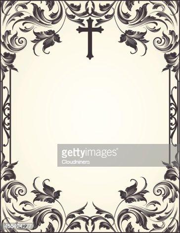 cross flourish frame scrollwork vector art