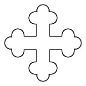 Cross trefoil shamrock Cross monogram Religious cross icon black color outline vector illustration flat style simple image