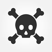 Crossbones or death skull, danger or poisonous icon for applications and websites. Vector.