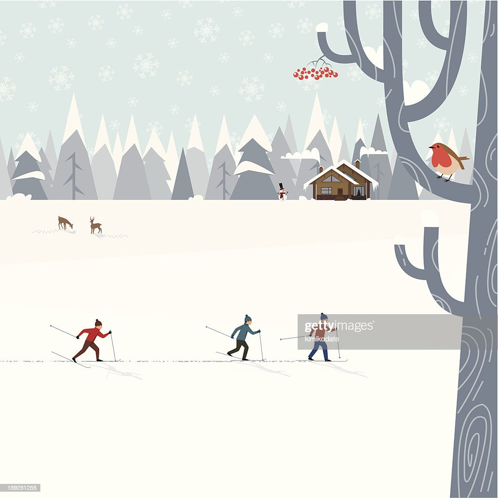 Cross-country skiing : Vektorgrafik